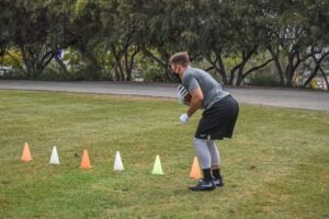 James Mullen doing Running back drills in Spring training. (Picture provided by James Mullen II)