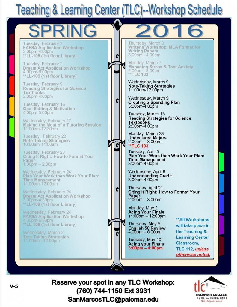 FYE2015_Spring 16 Semester Workshop Schedule_V5