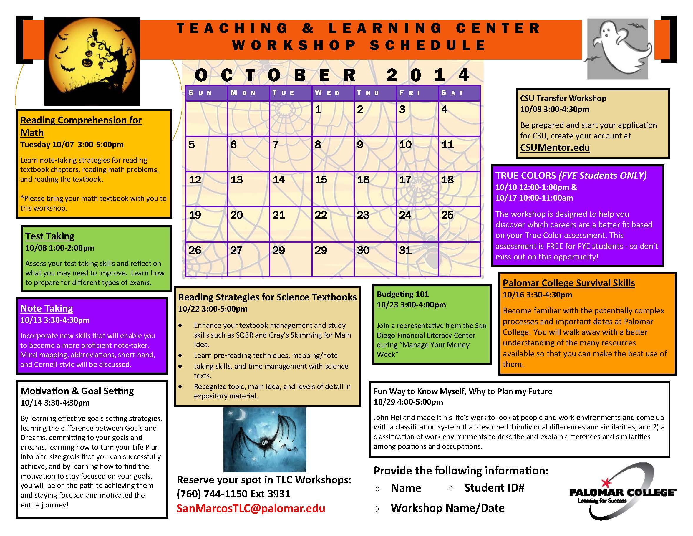 October 2014 workshop schedule