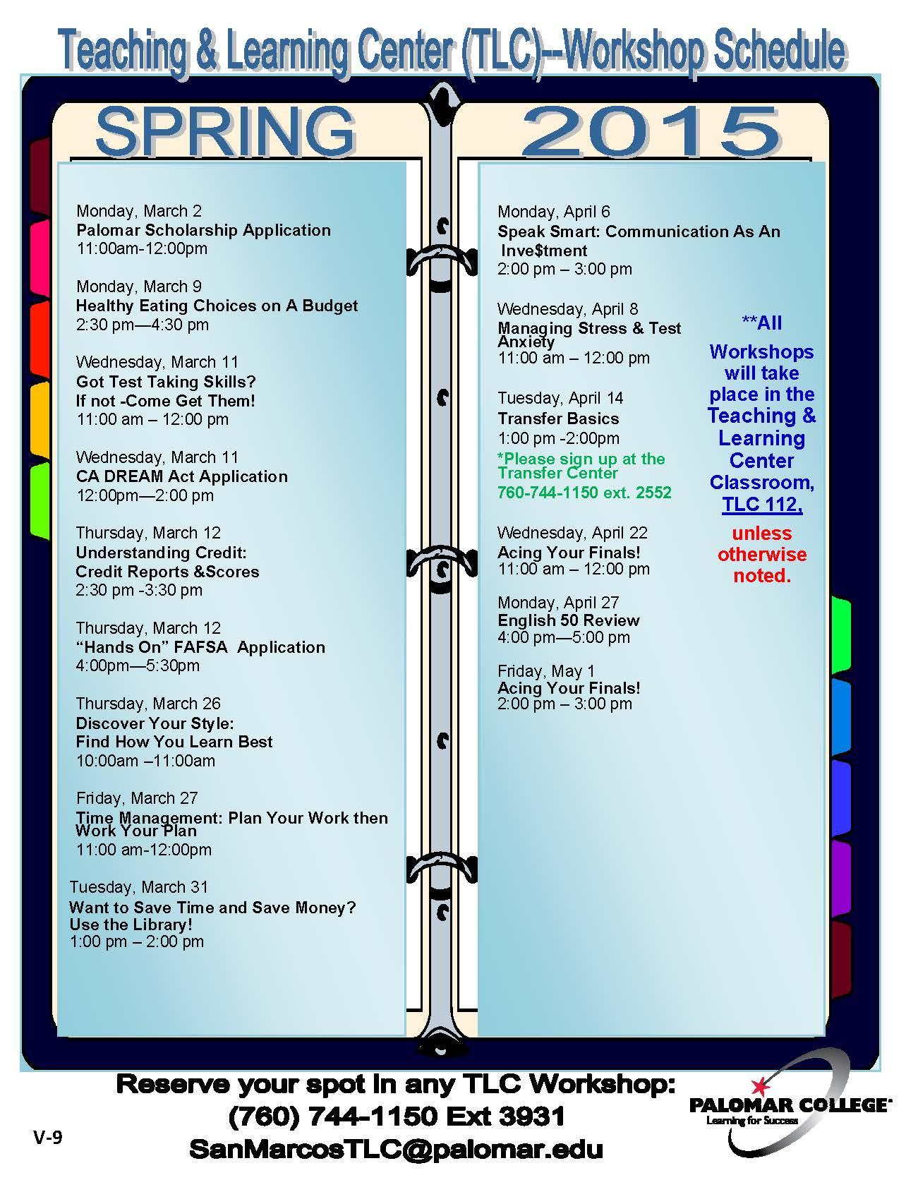 SP2015_TLC Workshop Schedule_V9