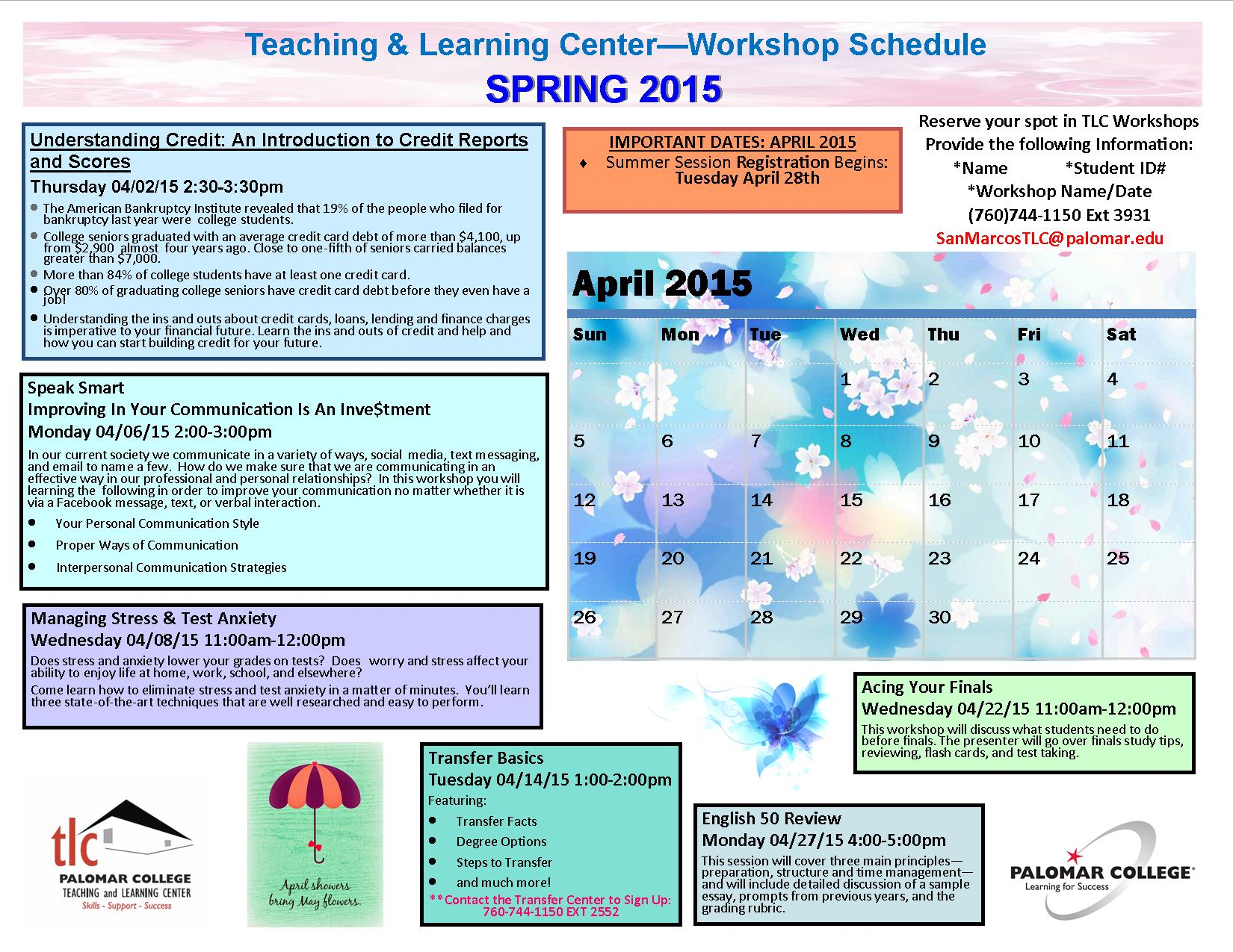 SP2015_TLC Workshop Schedule_April