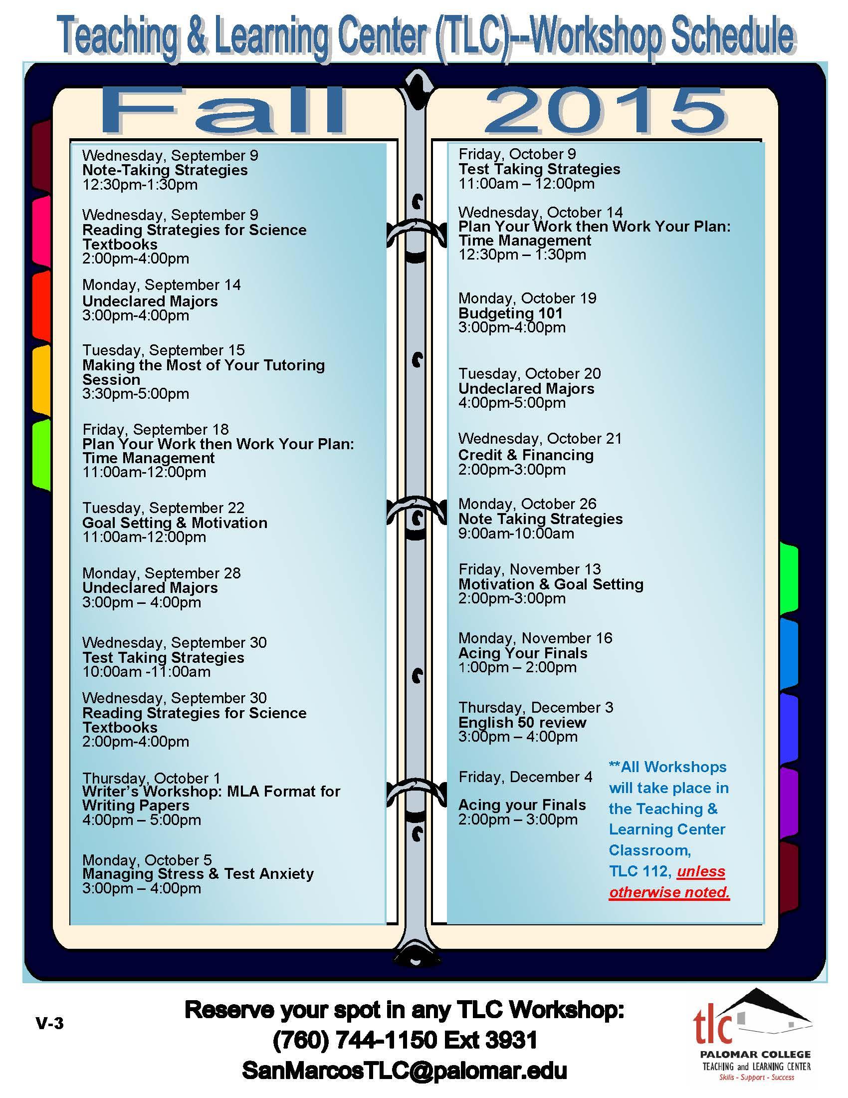 FYE2015_Fall Semester Workshop Schedule_V3