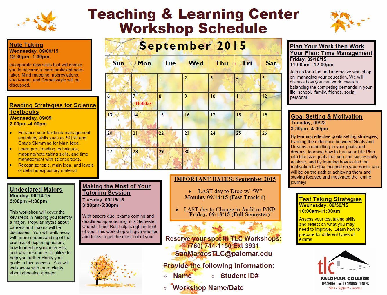 Sept workshop calendar
