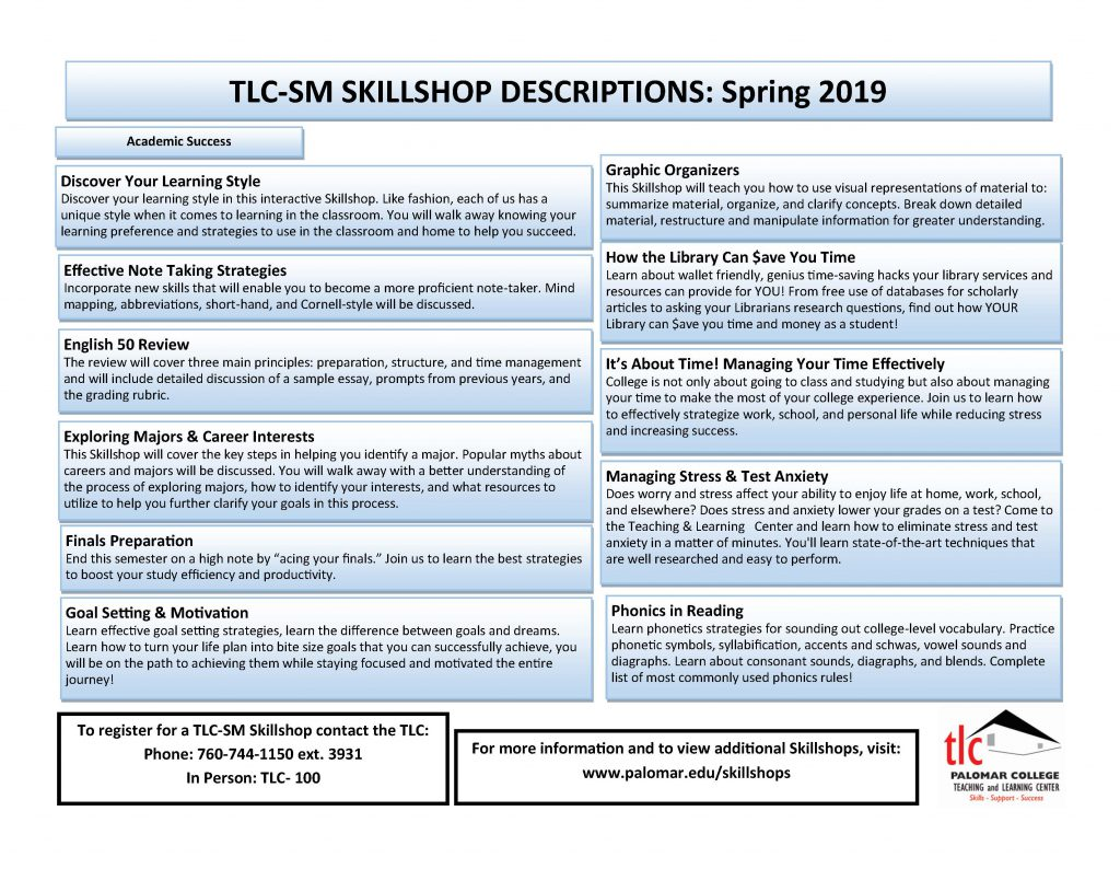 TLC SM Skillshop Descriptions