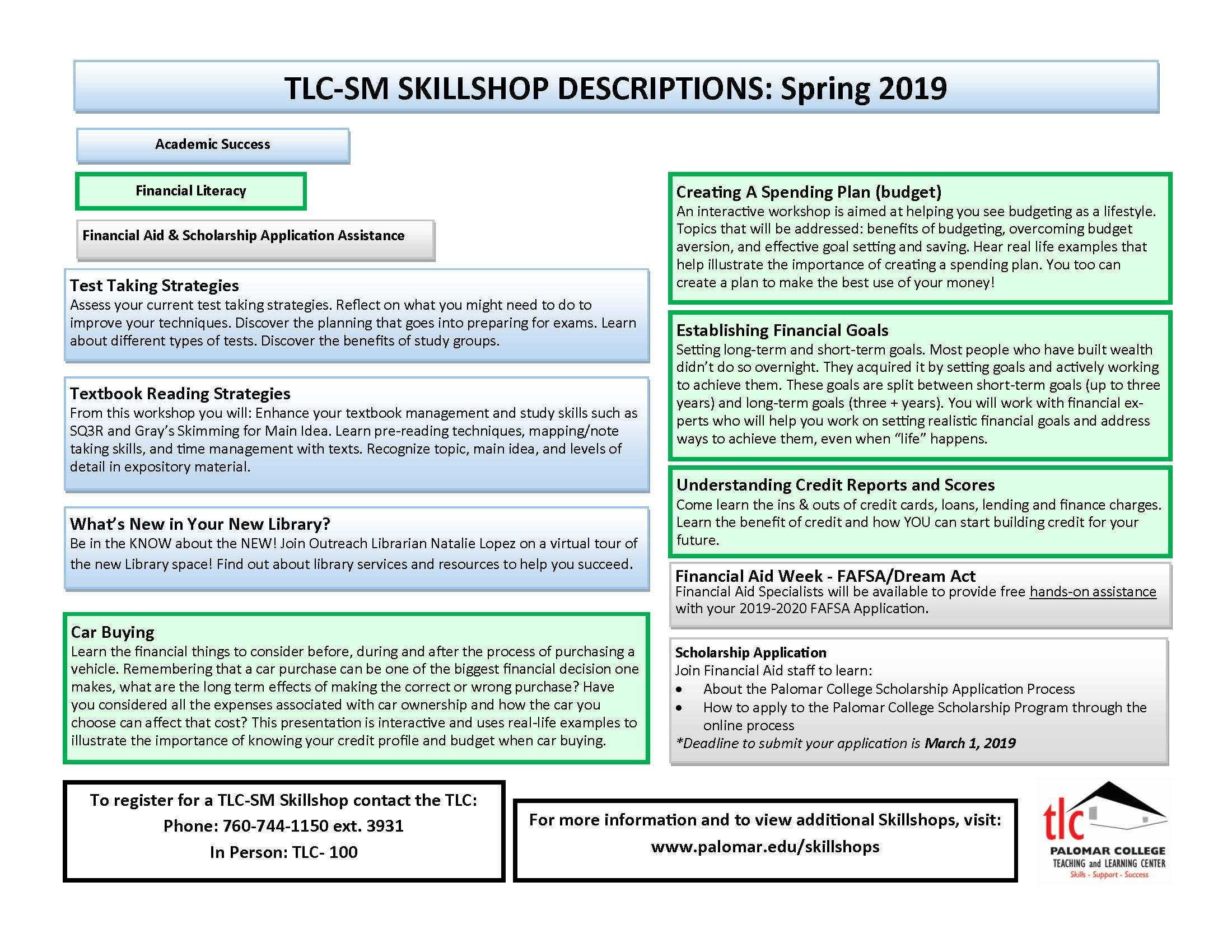 Palomar College Calendar 2020 Skillshops (Student Success Workshops) – TLC SM